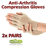 Medex Lab Inc Orthopedic Arthritis Compression Gloves All Day Relief (1 Black & 1 Beige)