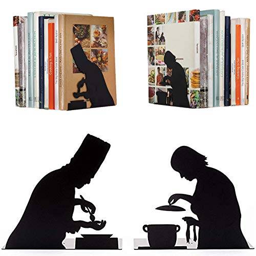 Artori Design by The Book Book Ends - for Cook Books - Decorative Black Metal Book End - Kitchen Bookends - Cooking Books Book Stoppers - Gifts for Chefs - Cookery Books Book Holder