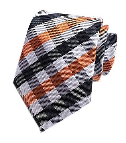 Men's White Black Orange Wave Gingham Plaid Silk Ties Handmade Woven Daily Dress Necktie