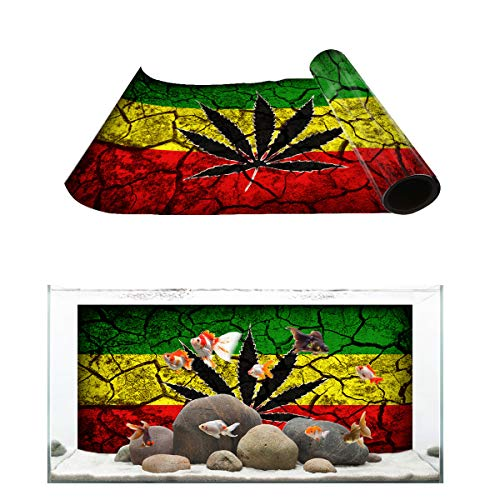 Aquarium Background Dry Land and Cannabis Leaf Fish Tank Wallpaper Easy to Apply and Remove PVC Sticker Pictures Poster Background Decoration 12.4
