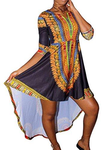 Irregolare Dashiki Lungo Abito Womens Nero Africano Swing Domple Stampa Manica 3 4 Party 5UOqEwxf