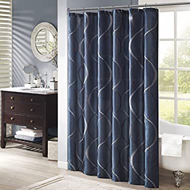 Madison Park MP70-1917 Serendipity Shower Curtain 72x72  Navy,72x72