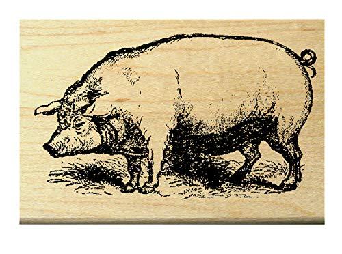 P10 Victorian style pig rubber stamp WM