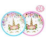 Magical Unicorn PlatesSet 24-Pack,7 Inch for a Birthday Party,Unicorn Party,or Children's Party (Pink and Blue)
