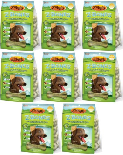 Zukes Z-Bones Edible Dental Chews Regular Apple Crisp 6lb 64ct(8x12oz), My Pet Supplies