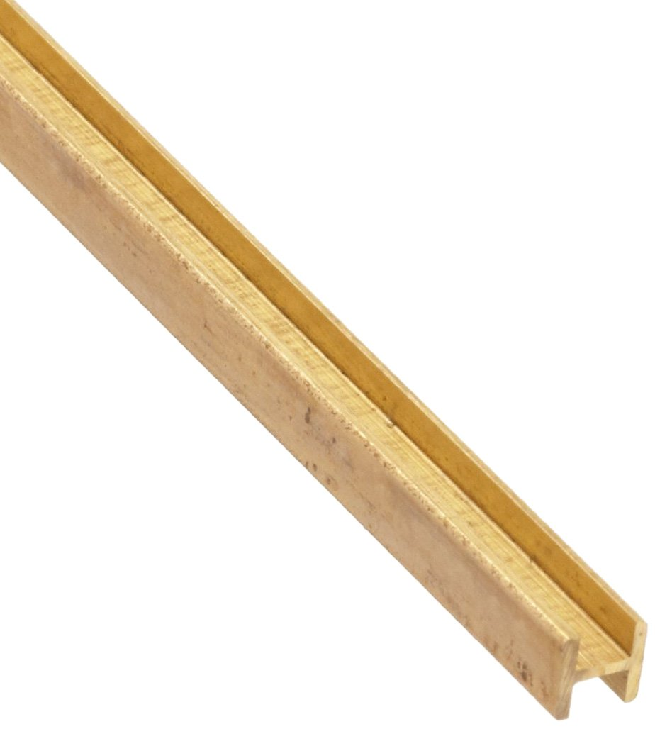 260 Brass I-Beam, Unpolished (Mill) Finish, H02 Temper, Precision Tolerance, ASTM B16, Equal Leg Length, Squared Corners, 5/32'' Leg Lengths, 0.15625'' Width, 0.024'' Wall Thickness, 12'' Length (Pack of 3) by Small Parts