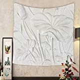 Madeleine Ellis Custom tapestry low relief cement thai style handcraft of lotus flower
