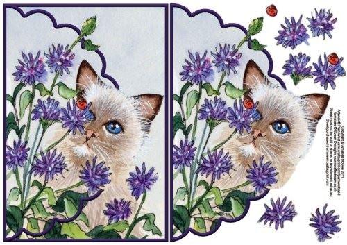 Gatto nella busta carta con Fiordalisi decoupage by Amanda Mcgee Craftsuprint
