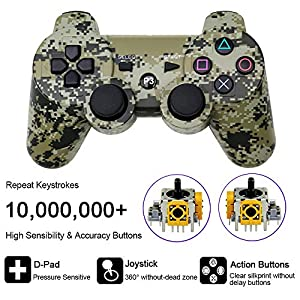 Vinonda PS3 Controller Wireless Double Vibration Remote Gamepad with Charging Cable for Sony Playstation 3 (Camouflage Grey) (Color: Camouflage Grey)