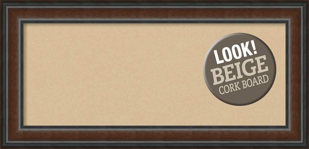 Amanti Art Outer Size 35 x 17 Framed Beige Cork Board Panel, Cyprus Walnut