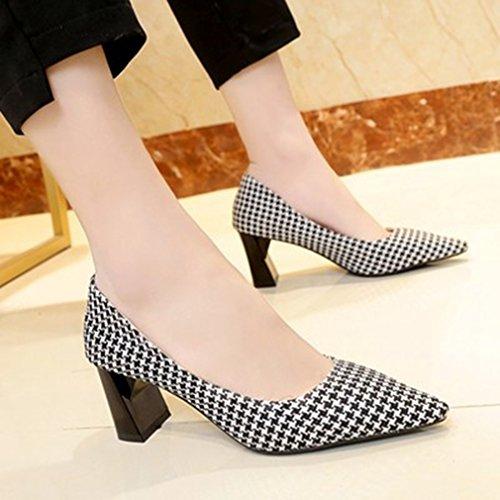 Giy Womens Classic Mocassini Mocassini Slip-on Griglia Gruccia Tacco Fashion Dress Mocassino Pump Shoes Nero