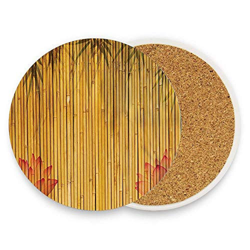 HappyToiletLidCoverX Lined Up Bamboo Stems and Flower Silhouettes Shadow Eastern Tropical Exotic Image Coaster for Drinks,Wallpaper Ceramic Round Cork Table Cup Mat Coaster Pack Of 1 ()