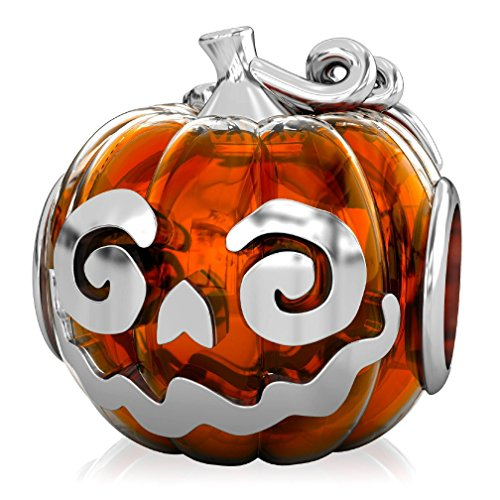 BELLA FASCINI Jack-O-Lantern Orange Halloween Pumpkin Bead Charm Fits European Bead Charm Bracelets