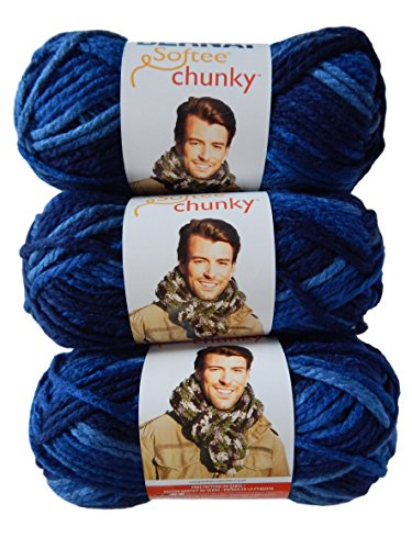Bernat Denim Yarn - Bernat Softee Chunky Yarn Super Bulky #6, Denim Ombre, 3 Skeins