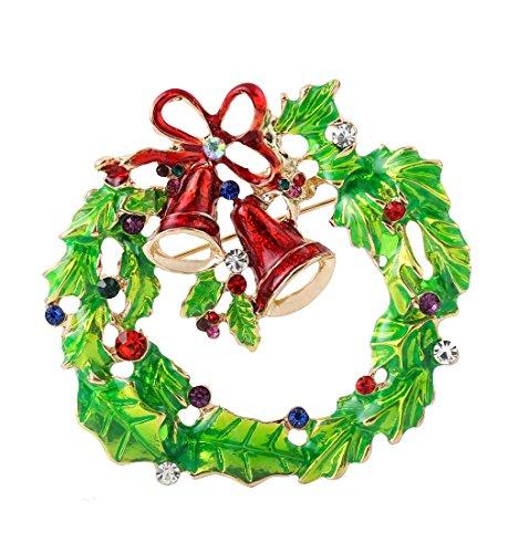 Wreath Brooch (VOGUEKNOCK Xmas Brooch Crystal Breastpin Enamel Christmas Wreath Brooch)