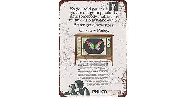 1966 Philco Reproducción de Colores con televisores Aspecto Vintage Metal Placa metálica, 12 x 18 Inches: Amazon.es: Hogar