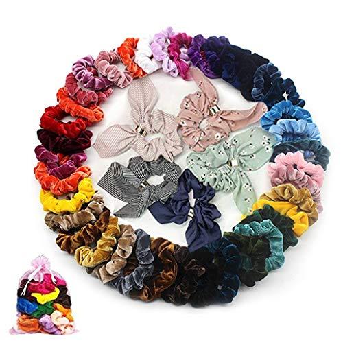 m·kvfa 50 Pcs Hair Scrunchies Velvet Elastic Hair Bands Hair Ties Ropes