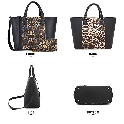 Satchel Structured Bag Black Large Handle Designer Laptop Women's Bag Matching 6417 Handbag Top Dasein Shoulder Leopard Wallet Tote Purse qRYwzW8