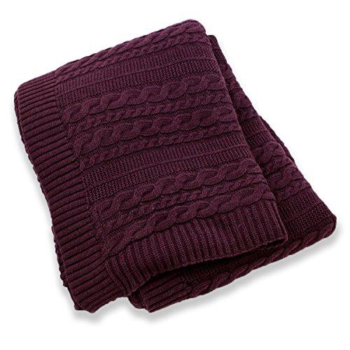 Viverano Pure Organic Cotton Cable Knit Throw Blanket, 50x70, Soft, Non-Toxic (Dark (Dark Plum)