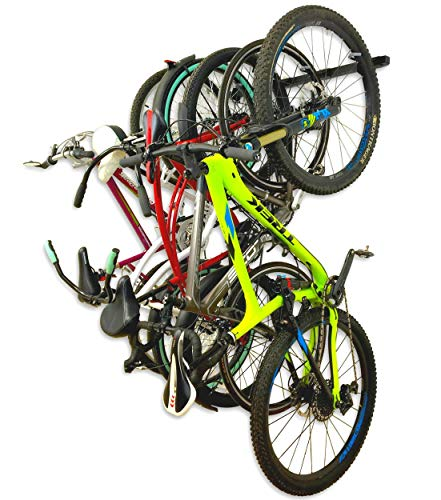 Omni Bike Storage Rack - Holds 5 Bicycles - Home & Garage Adjustable Bikes Wall Hanger Mount (System Hoist Bike Pulley)