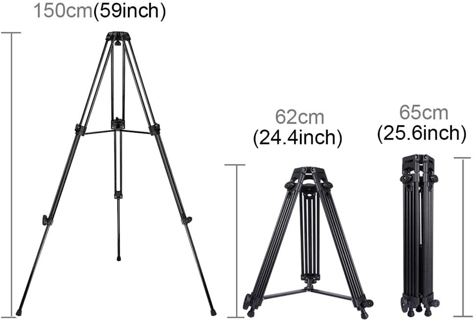 FeliciaJuan Tripod Stand Heavy Duty Aluminum Alloy Tripod for DSLR SLR Camera Video Camcorder Color : Black, Size : One Size