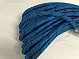 5/8'' X 120' Double Braid Polyester Arborist Bull Rope, Blue/Black