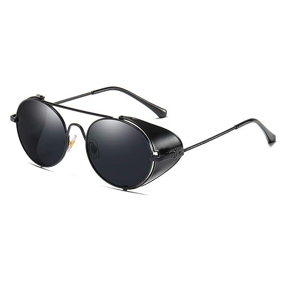 AMZTM Steampunk Metal Frame Sunglasses Retro Round Lens Eyewear