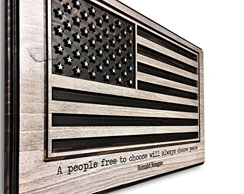 (American Flag Art, US Flag, Flag of United States of American, 3D Wall Art, Wood Wall Art, Patiotic Decor, Ronald Reagan Quote, Quote Wall Art, Carved, Wooden Flag)