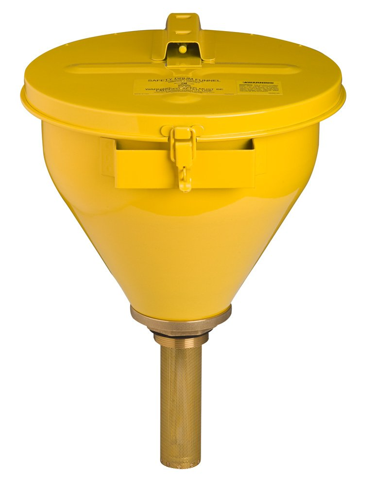 Justrite 08227 Steel Large Safety Drum Funnel with Self-Closing Cover and 152mm Flame Arrester, 273mm Diameter x 254mm Height