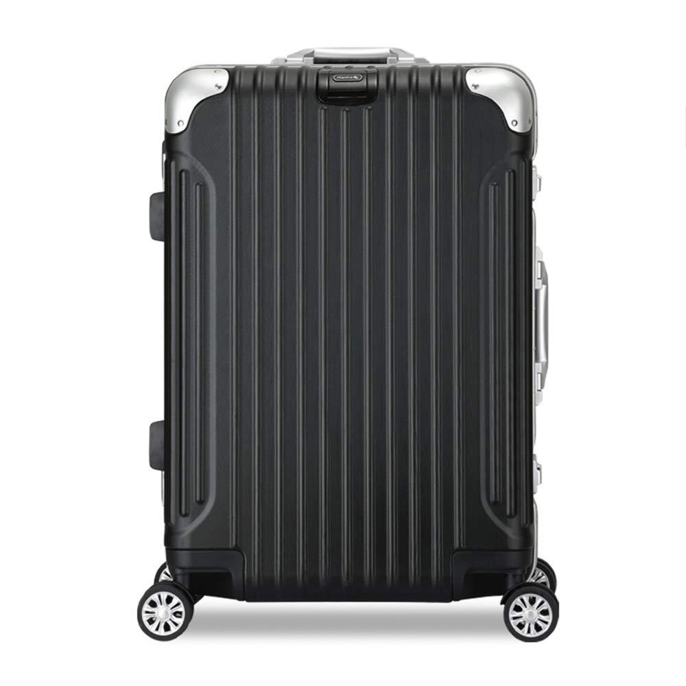 WJ スーツケース プルロッドボックス - 擦り傷アルミ合金フレーム、メタルラップアングル、組み込み盗難防止暗号ロック、ミュートユニバーサルホイール、旅行と短期旅行に適したビジネス旅行、2色と2サイズ /-/ (色 : 黒, サイズ さいず : 38 x 23.5 x 51cm) B07MYR432M 黒 38 x 23.5 x 51cm