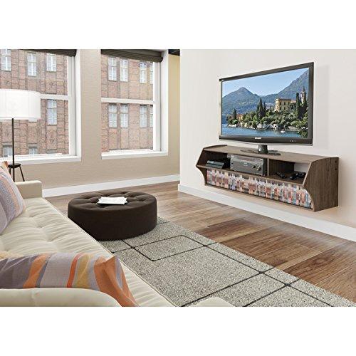 Prepac Altus Plus Grey Wood AV Console Table Espresso Windowpane Media