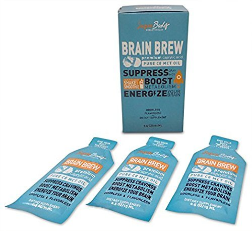 Premium C8 MCT Oil Travel Size Single Serve Brain Brew (60 Servings) 100% Caprylic Acid. No Spills. Perfect Way to have a focused and clear mind! Fat burning energy without (Breakthrough Performance Oil)
