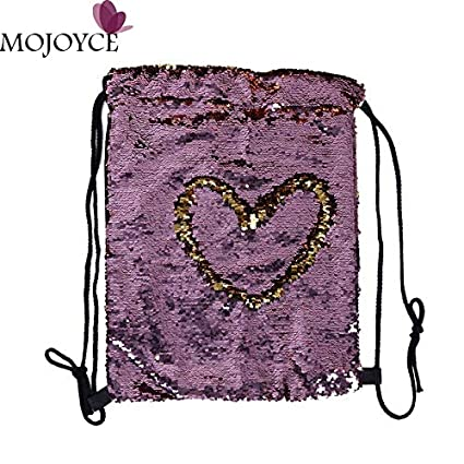 Women Sequin Backpack Fashion Bling Drawstring Bag Female Small Travel Backpacks for Teenage Girls Mochila Sac