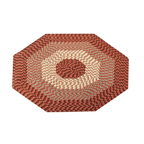 Collections Etc Versatile Alpine Braided Accent Rug with 3-Tone Coloring for Any Room, Rust, 4