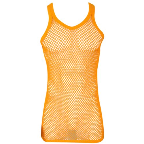 Mens String Mesh Vest Fitted 100% Cotton Gym Training Tank Top (Orange, Large)