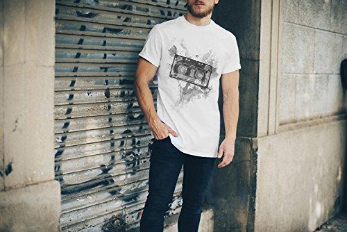 Kassette Oldschool T-Shirt Herren, weiß mit Aufdruck