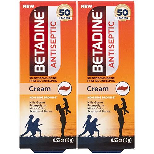 Betadine First Aid Cream Povidone Iodine Antiseptic, 0.53 oz, 2 Count, Ylang Ylang