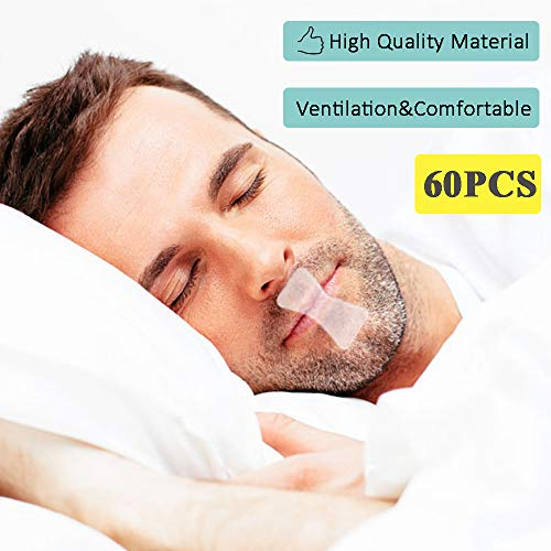 Mouth Tape(60pcs 2 Month Supply)Sleep Strips for Better Nose Breathing Comfortable& Easy To Apply, Improved Nighttime Sleeping, micropore mouth strips Less Mouth Breathing,Stop Snoring,Snoring Relief