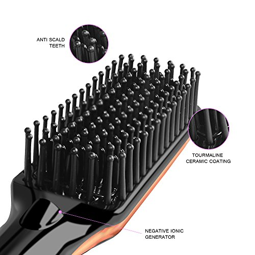 Hair Straightening Brush YALUYA Hair Straightener Brush Ceramic Portable Electric Heat Brush Straightening Irons Hair Care Brush Anti Scald Ionic Teeth Comb for Travel Women's Day Gift (Black) by YALUYA (Image #5)