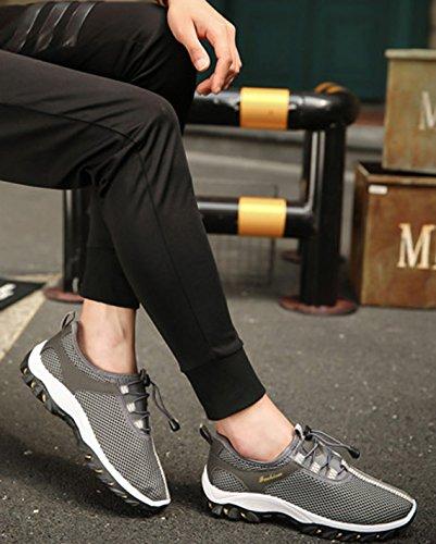 VECJUNIA Herren Air Laufschuhe Sportschuhe mit Luftpolster Turnschuhe Leichte Schuhe Beiläufig Outdoor Sommer Atmungsaktiv Schuhe Grau