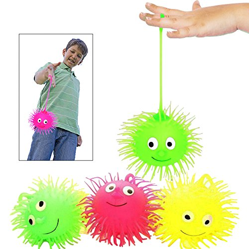 Toy Cubby Flashing Squeezable Puffer Balls - 6 - Flashing Puffer
