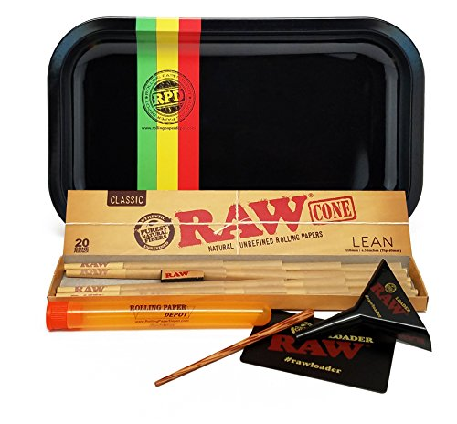 Bundle - 4 Items - RAW Cone Lean 20 Pack, RAW Lean Loader Cone Filler with Rolling Paper Depot Rolling Tray (Rasta Racer) and Doobtube by RAW, Rolling Paper Depot