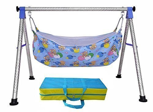 A to Z Hub Baby Cradle N Swing Ghodiyu with Indian Style Hammock Having Mosquito Net for New Born Infants,Swing (Blue) + 1 Hammock + 1 Vacuum Free