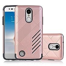 LG LV3 / LG Aristo / LG K8 2017 Case, Asstar Design Hybrid Dual Layer [Slim Fit] Armor Hard Cover with TPU Skin Drop Protection Case Ultra Slim For LG V3/MS210 (Rose gold)