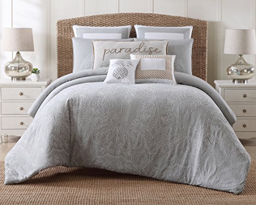 Coastal Living Embroidered Cotton Duvet Cover Set, King, Tro