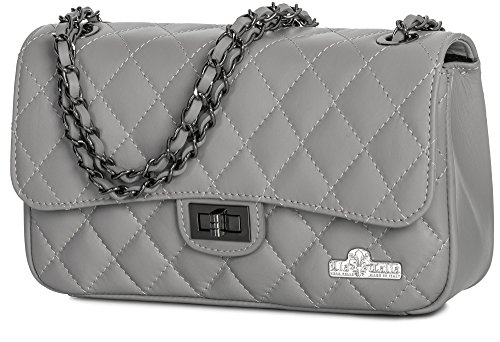 Genuine Leather Quilted Evening Purse Party Ladies Italian Clutch Medium Light CAROL Bag Womens Grey LIATALIA qpB4p