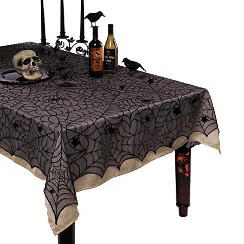 "NKIPORU 54""x 72""Halloween Spider Web Tablecloth Decoration Cobweb Lace Tablecloth Festive Party Supplies for Halloween Parties, Décor, Dinner & Spooky Meals, Black -"