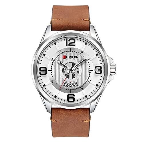 Brown Dress Dial (Tayhot Men's Quartz Analog Leather Strap Auto Date Casual Wrist Watch,Silver Dial Date Calendar Arabic Numerals Waterproof Dress Watch with Brown Leather Strap)