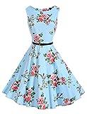 FitDesign Women's 1950s A Line Vintage Dresses Audrey Hepburn Style Floral Party Dress (Small, Color07)