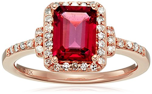 10k Pink Gold Rhodolite and Diamond Octagon Ring (1/4cttw, I-J Color, I3 Clarity), Size (10k Rhodolite Ring)